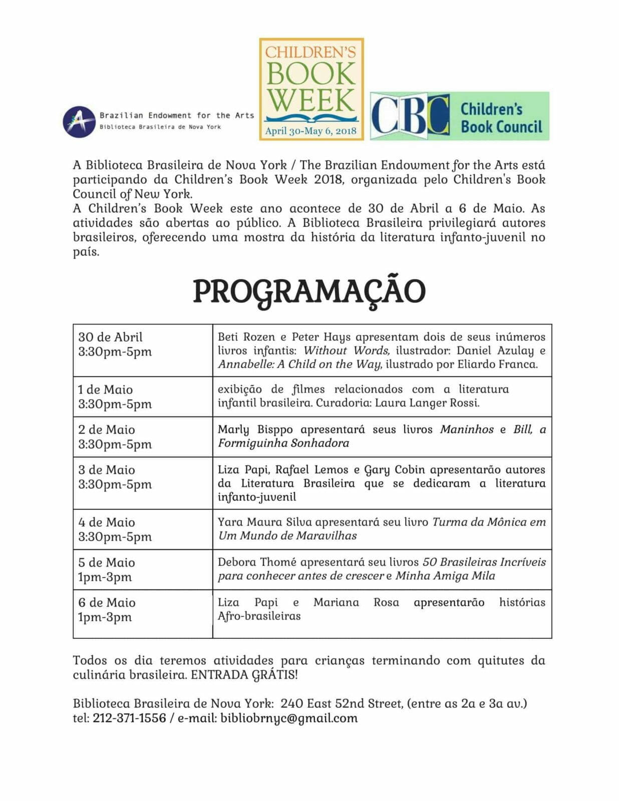 children book week program big 2 1 - A Biblioteca Brasileira de Nova York convida as Crianças para a Children's Book Week